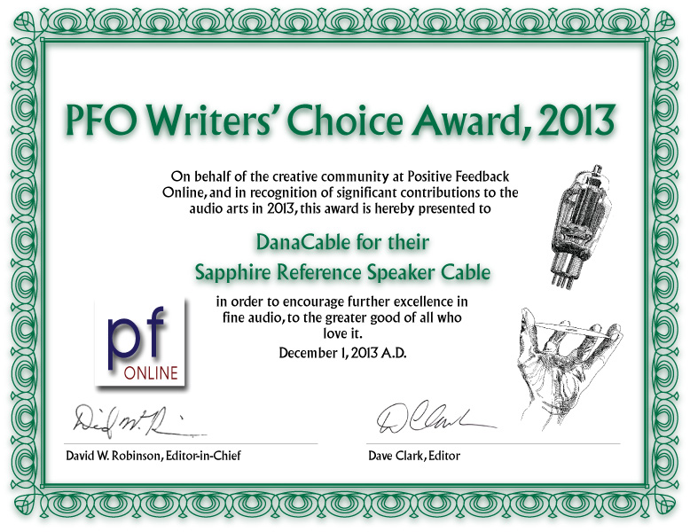 Positive Feedback Writers' Choice Award 2013 for Sapphire Reference speaker cable